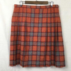 Pendleton Pleated Wool Skirt  Rust & Gray plaid 14